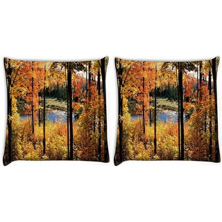Snoogg Pack Of 2 Forest Trees Digitally Printed Cushion Cover Pillow 10 x 10 Inch