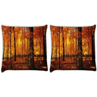 Snoogg Pack Of 2 Dense Forest Digitally Printed Cushion Cover Pillow 10 x 10 Inch