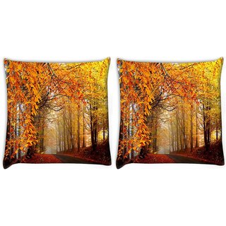 Snoogg Pack Of 2 Pathway Through The Forest Digitally Printed Cushion Cover Pillow 10 x 10 Inch