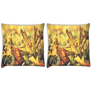 Snoogg Pack Of 2 Dry Leaves In Garden Digitally Printed Cushion Cover Pillow 10 x 10 Inch