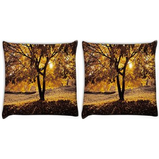 Snoogg Pack Of 2 Summer Forest Digitally Printed Cushion Cover Pillow 10 x 10 Inch