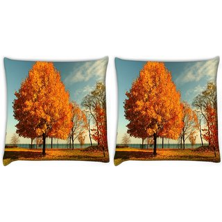 Snoogg Pack Of 2 Orange Leaves In Trees Digitally Printed Cushion Cover Pillow 10 x 10 Inch