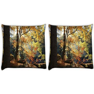 Snoogg Pack Of 2 Huge Tree Digitally Printed Cushion Cover Pillow 10 x 10 Inch