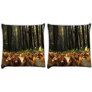 Snoogg Pack Of 2 Many Trees In Forest Digitally Printed Cushion Cover Pillow 10 x 10 Inch
