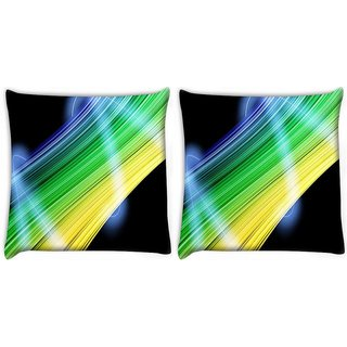 Snoogg Pack Of 2 Abstract Multicolor Design Digitally Printed Cushion Cover Pillow 10 x 10 Inch