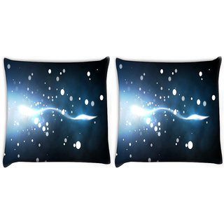 Snoogg Pack Of 2 White Small Bubbles Digitally Printed Cushion Cover Pillow 10 x 10 Inch
