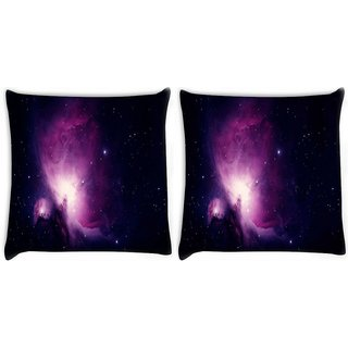 Snoogg Pack Of 2 Stars In The Galaxy Digitally Printed Cushion Cover Pillow 10 x 10 Inch