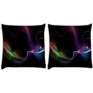 Snoogg Pack Of 2 Wavy Neon Ribbon Digitally Printed Cushion Cover Pillow 10 x 10 Inch