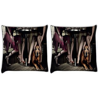 Snoogg Pack Of 2 Dog Under The Table Digitally Printed Cushion Cover Pillow 10 x 10 Inch