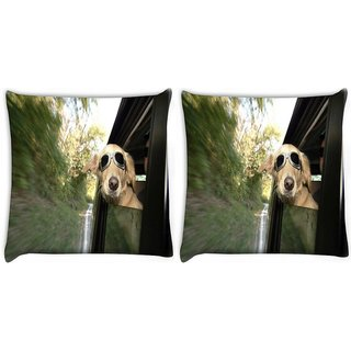 Snoogg Pack Of 2 Dog With Glasses Digitally Printed Cushion Cover Pillow 10 x 10 Inch