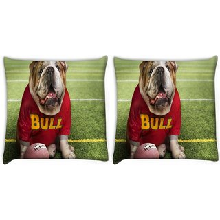 Snoogg Pack Of 2 Bull Dog Digitally Printed Cushion Cover Pillow 10 x 10 Inch