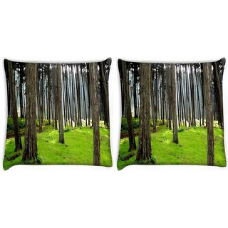 Snoogg Pack Of 2 Long Branched Tree Digitally Printed Cushion Cover Pillow 10 x 10 Inch