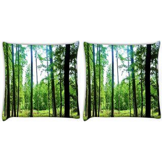 Snoogg Pack Of 2 Thin Branched Tree Digitally Printed Cushion Cover Pillow 10 x 10 Inch