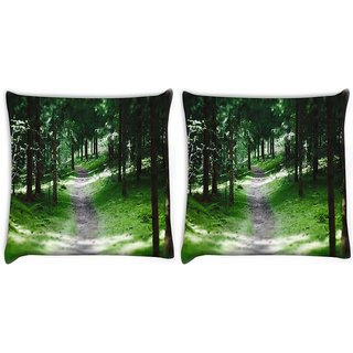 Snoogg Pack Of 2 Small Pathway Digitally Printed Cushion Cover Pillow 10 x 10 Inch