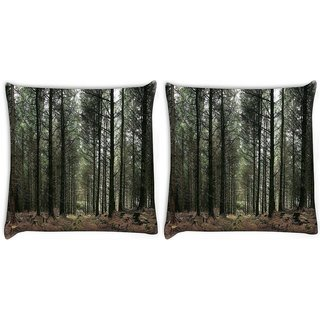 Snoogg Pack Of 2 Dense Walking Way Digitally Printed Cushion Cover Pillow 10 x 10 Inch
