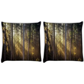Snoogg Pack Of 2 Sunlight In Forest Digitally Printed Cushion Cover Pillow 10 x 10 Inch