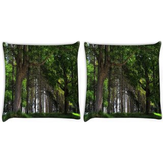 Snoogg Pack Of 2 Big Trees Digitally Printed Cushion Cover Pillow 10 x 10 Inch