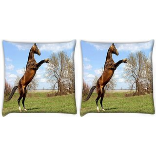 Snoogg Pack Of 2 Horse Standing Digitally Printed Cushion Cover Pillow 10 x 10 Inch