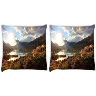 Snoogg Pack Of 2 Variety In Garden Digitally Printed Cushion Cover Pillow 10 x 10 Inch