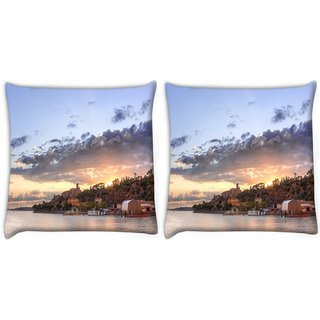 Snoogg Pack Of 2 Houses Attached With Forest Digitally Printed Cushion Cover Pillow 10 x 10 Inch