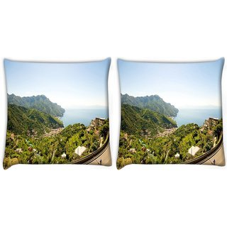 Snoogg Pack Of 2 White Houses Digitally Printed Cushion Cover Pillow 10 x 10 Inch
