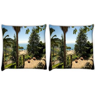 Snoogg Pack Of 2 Brown Houses Digitally Printed Cushion Cover Pillow 10 x 10 Inch
