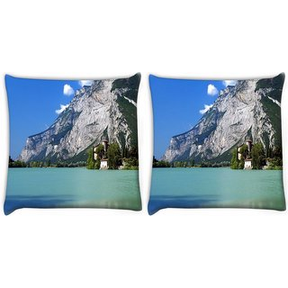 Snoogg Pack Of 2 Tall Tree In House Digitally Printed Cushion Cover Pillow 10 x 10 Inch
