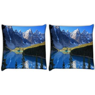 Snoogg Pack Of 2 White Mountain Digitally Printed Cushion Cover Pillow 10 x 10 Inch