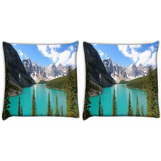 Snoogg Pack Of 2 Green River Digitally Printed Cushion Cover Pillow 10 x 10 Inch