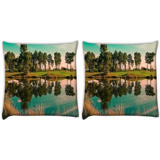 Snoogg Pack Of 2 River Side Tree Digitally Printed Cushion Cover Pillow 10 x 10 Inch