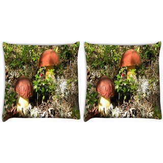 Snoogg Pack Of 2 Yellow Stem Mushroom Digitally Printed Cushion Cover Pillow 10 x 10 Inch