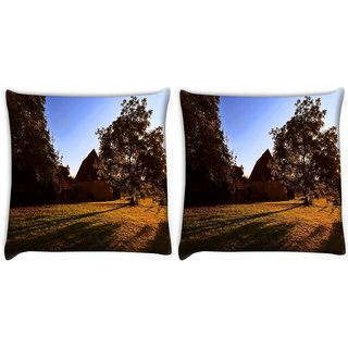 Snoogg Pack Of 2 House And Tree Digitally Printed Cushion Cover Pillow 10 x 10 Inch