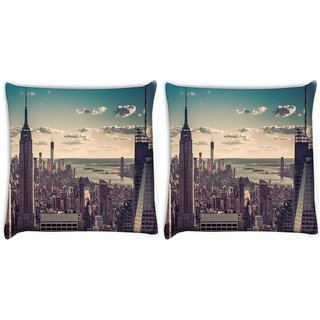 Snoogg Pack Of 2 Tall Buildings Digitally Printed Cushion Cover Pillow 10 x 10 Inch