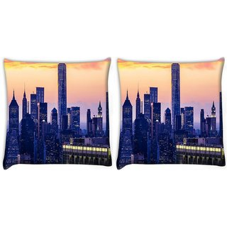 Snoogg Pack Of 2 Buildings At Night Digitally Printed Cushion Cover Pillow 10 x 10 Inch