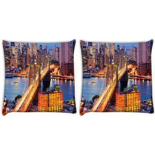 Snoogg Pack Of 2 Lightful Bridge Digitally Printed Cushion Cover Pillow 10 x 10 Inch