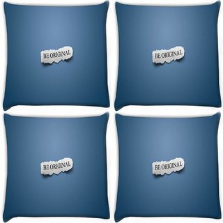 Snoogg Pack Of 4 Be Original Digitally Printed Cushion Cover Pillow 10 x 10 Inch