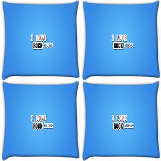 Snoogg Pack Of 4 I Love Rock Music Digitally Printed Cushion Cover Pillow 10 x 10 Inch
