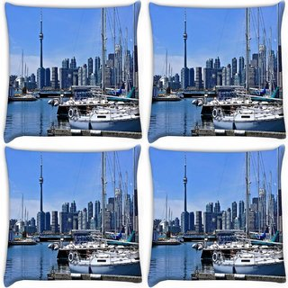 Snoogg Pack Of 4 Abstract Yards Digitally Printed Cushion Cover Pillow 10 x 10 Inch