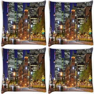 Snoogg Pack Of 4 Street Lamp Digitally Printed Cushion Cover Pillow 10 x 10 Inch