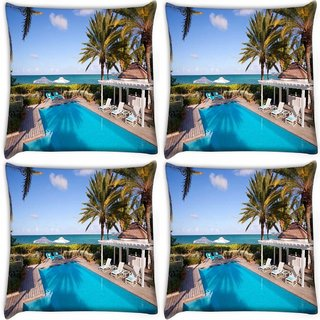 Snoogg Pack Of 4 Swimming Pool Digitally Printed Cushion Cover Pillow 10 x 10 Inch