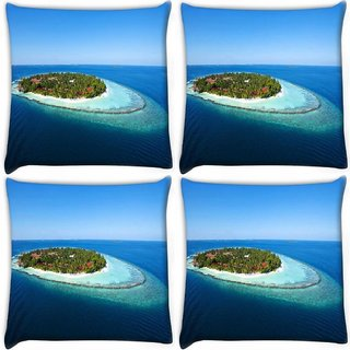 Snoogg Pack Of 4 Abstract Island Digitally Printed Cushion Cover Pillow 10 x 10 Inch
