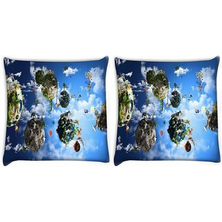 Snoogg Pack Of 2 Animated Planets Digitally Printed Cushion Cover Pillow 10 x 10 Inch