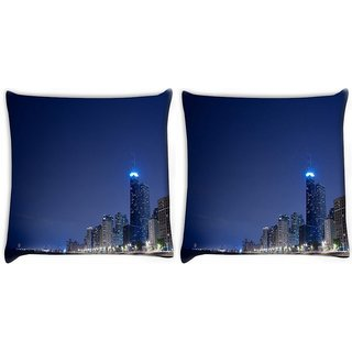 Snoogg Pack Of 2 City Lights Digitally Printed Cushion Cover Pillow 10 x 10 Inch