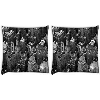 Snoogg Pack Of 2 Black And White City Digitally Printed Cushion Cover Pillow 10 x 10 Inch
