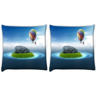 Snoogg Pack Of 2 Colorful Parchute Digitally Printed Cushion Cover Pillow 10 x 10 Inch