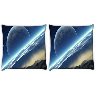 Snoogg Pack Of 2 Half Moon Digitally Printed Cushion Cover Pillow 10 x 10 Inch