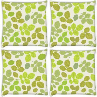 Snoogg Pack Of 4 Colorful Leaves Cream Pattern Digitally Printed Cushion Cover Pillow 10 x 10 Inch