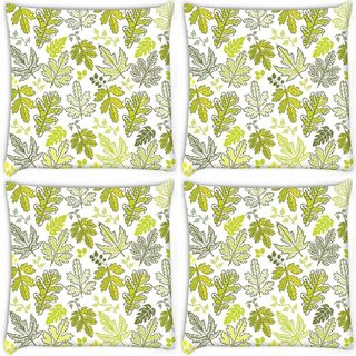 Snoogg Pack Of 4 Abstract Multicolor Leaves Digitally Printed Cushion Cover Pillow 10 x 10 Inch