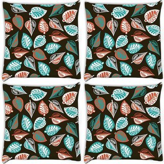 Snoogg Pack Of 4 Multicolor Leaves Brown Pattern Digitally Printed Cushion Cover Pillow 10 x 10 Inch