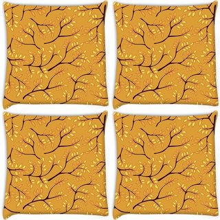 Snoogg Pack Of 4 Leaves Light Blue Pattern Digitally Printed Cushion Cover Pillow 10 x 10 Inch